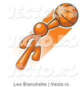 Vector of Orange Guy Jumping with Basketball by Leo Blanchette