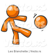 Vector of Orange Guy Kicking a Ball While Playing a Game by Leo Blanchette