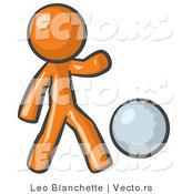 Vector of Orange Guy Kicking a White Ball by Leo Blanchette