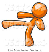 Vector of Orange Guy Kicking by Leo Blanchette