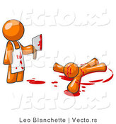 Vector of Orange Guy Killer Holding a Cleaver Knife over a Bloody Body by Leo Blanchette