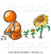 Vector of Orange Guy Kneeling by Growing Sunflowers to Plant Seeds in a Dirt Hole in a Garden by Leo Blanchette