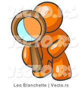 Vector of Orange Guy Kneeling on One Knee to Look Closer at Something While Inspecting or Investigating by Leo Blanchette