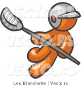 Vector of Orange Guy Lacross Player by Leo Blanchette
