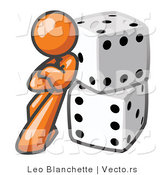 Vector of Orange Guy Leaning Against 2 Dice by Leo Blanchette