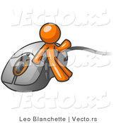Vector of Orange Guy Leaning Against a Computer Mouse by Leo Blanchette