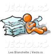 Vector of Orange Guy Leaning Against a Stack of Papers by Leo Blanchette