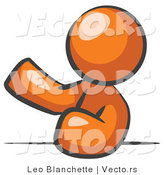 Vector of Orange Guy Leaning an Elbow on a Table and Gesturing with One Hand During a Meeting by Leo Blanchette