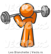 Vector of Orange Guy Lifting Barbell Weights by Leo Blanchette
