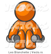 Vector of Orange Guy Lifting Dumbbells While Strength Training by Leo Blanchette