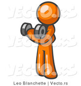Vector of Orange Guy Lifting Weights with a Dumbell by Leo Blanchette