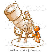 Vector of Orange Guy Looking Through a Big Telescope by Leo Blanchette
