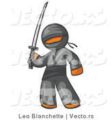 Vector of Orange Guy Ninja Holding a Sword by Leo Blanchette