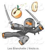 Vector of Orange Guy Ninja Jumping and Slicing an Apple with Swords by Leo Blanchette