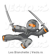 Vector of Orange Guy Ninja Kicking and Jumping with Swords by Leo Blanchette