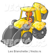 Vector of Orange Guy Operating a Yellow Backhoe Machine at a Construction Site by Leo Blanchette