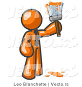 Vector of Orange Guy Painter Holding a Dripping Paint Brush by Leo Blanchette