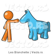 Vector of Orange Guy Petting a Blue Horse by Leo Blanchette