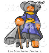 Vector of Orange Guy Pirate with a Cane and a Peg Leg by Leo Blanchette