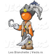 Vector of Orange Guy Pirate with a Hook Hand and a Sword by Leo Blanchette