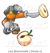 Vector of Orange Guy Pirate with a Hook Hand, Holding a Sliced Apple on a Sword by Leo Blanchette