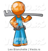 Vector of Orange Guy Plumber with a Tool by Leo Blanchette