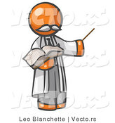Vector of Orange Guy Professor Holding a Pointer Stick and an Open Book by Leo Blanchette