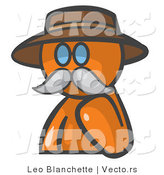 Vector of Orange Guy Professor with a Mustache by Leo Blanchette