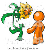 Vector of Orange Guy Proudly Standing in Front of His Giant Sunflower in His Garden by Leo Blanchette