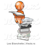 Vector of Orange Guy Reading on a Stack of Books by Leo Blanchette