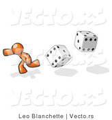 Vector of Orange Guy Running from Dice by Leo Blanchette