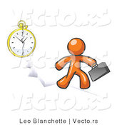Vector of Orange Guy Running Late for Work over a Crack with a Clock by Leo Blanchette
