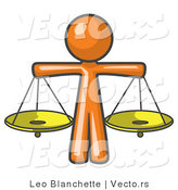 Vector of Orange Guy Scales of Justice with Two Gold Scales by Leo Blanchette