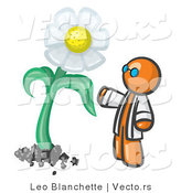 Vector of Orange Guy Scientist Admiring a Giant White Daisy Flower by Leo Blanchette