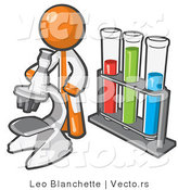 Vector of Orange Guy Scientist Using a Microscope by Vials by Leo Blanchette