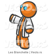 Vector of Orange Guy Scientist Wearing Blue Glasses and a Lab Coat by Leo Blanchette