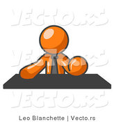 Vector of Orange Guy Seated at a Desk During a Meeting by Leo Blanchette