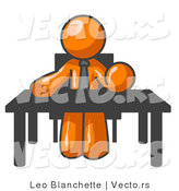 Vector of Orange Guy Seated at a Desk, Instructing Employees by Leo Blanchette