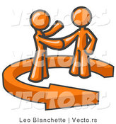 Vector of Orange Guy Shaking Hands with a Client While Making a Deal by Leo Blanchette