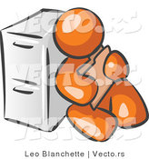 Vector of Orange Guy Sitting by a Filing Cabinet and Holding a Folder by Leo Blanchette