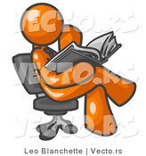 Vector of Orange Guy Sitting Cross Legged in a Chair and Reading a Book by Leo Blanchette
