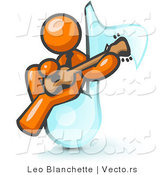 Vector of Orange Guy Sitting on a Music Note and Playing a Guitar by Leo Blanchette