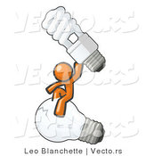 Vector of Orange Guy Sitting on an Old Light Bulb and Holding up a New, Energy Efficient Bulb by Leo Blanchette
