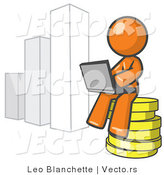 Vector of Orange Guy Sitting on Coins and Using a Laptop by a Bar Graph by Leo Blanchette