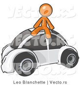 Vector of Orange Guy Sitting on Top of a Slug Bug by Leo Blanchette