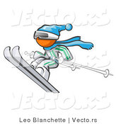 Vector of Orange Guy Skier Jumping with Poles by Leo Blanchette