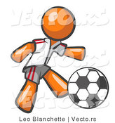 Vector of Orange Guy Soccer Player by Leo Blanchette