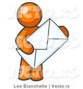 Vector of Orange Guy Standing and Holding a Large Envelope, Symbolizing Communications and Email by Leo Blanchette
