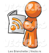 Vector of Orange Guy Standing and Reading an RSS Magazine by Leo Blanchette