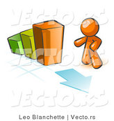 Vector of Orange Guy Standing by an Increasing Green, Yellow and Orange Bar Graph on a Grid Background with an Arrow by Leo Blanchette
